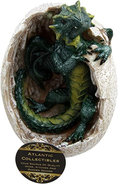 Ebros Gift Fossil Green Earth Elemental Dragon Hatchling Breaking Out Of Egg Shell Decorative Figurine 5 H Dungeons And Dragons Collectible Figurine Museum Like Eggs Decor Medieval Renaissance Theme