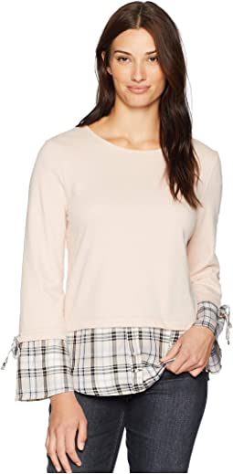 Long Sleeve Twofer Front Terry Blush w/ Plaid Tie Sleeve