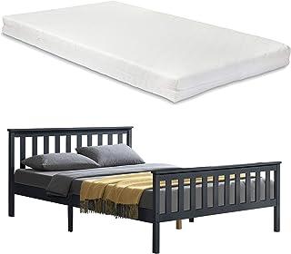 Cadre de Lit Design pour Adultes en Bois de Pin à Sommier à Lattes Lit Double avec Matelas à Mousse à Froid Capacité de Ch...