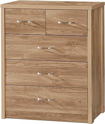 Holland 2 Plus 3 Drawers Chest, Oak 45.5 x 89.5 x 97 cm