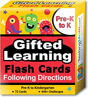 TestingMom.com Gifted Learning Flash Cards – Following Directions for Pre-K – Kindergarten – Educational Practice for CogAT Test, OLSAT Test, ITBS, NYC Gifted and Talented, WISC, WPPSI