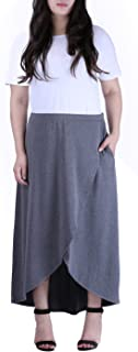 6fdb8f18896d4 HDE Women s Plus Size High Low Long Wrap Style Maxi Skirt with Pockets