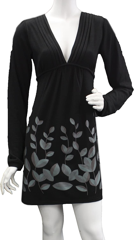 Leisureland Women's VNeck Long Sleeve Knits Leaf Print Dress