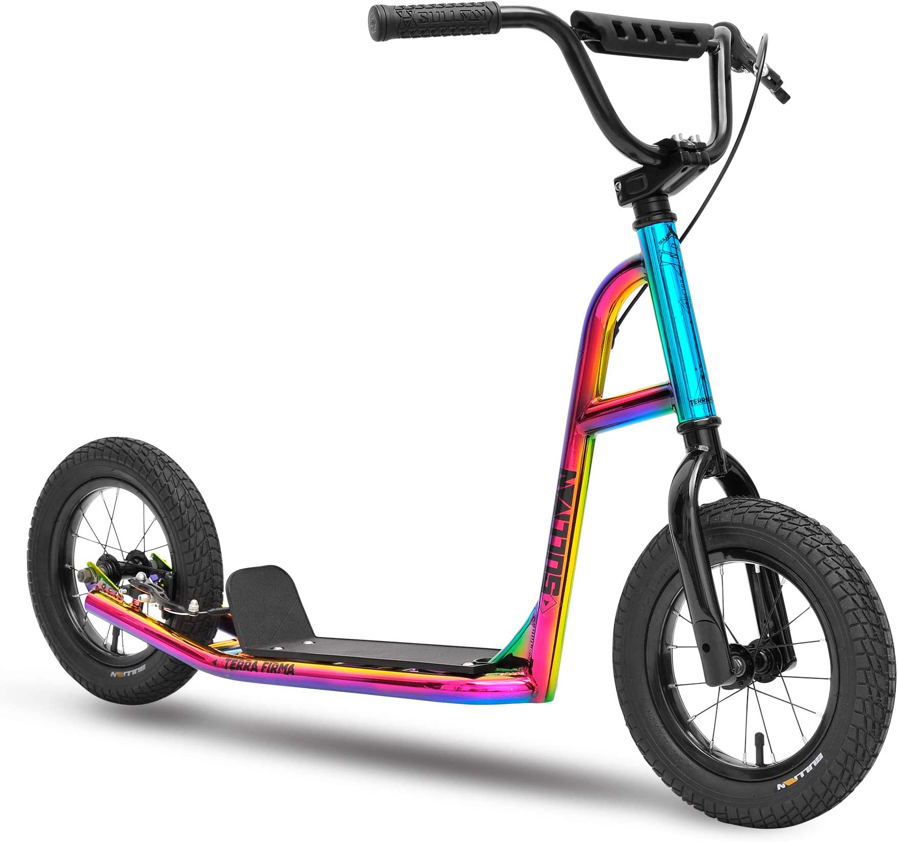 "Sullivan Terra Firma 12"" Scooter neo Chrome/Black, for Ages 8-13, All Terrain Inflatable Tires"