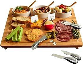 طبق جبن خيزران/طبق من بيكنك آت أسكوت - يتضمن 3 أوعية من السيراميك، ملاعق خيزران، أدوات جبن من الفولاذ المقاوم للصدأ، وأقلا...