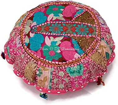 DK Homewares Round Traditional Bohemian Floor Cushions Seating for Adults Baby Pink 18 Inch Patchwork Seating Pouf Ottoman Ho