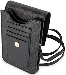GUESS - 4G wallet case for phone with tassel, black., GUWBSQGBK