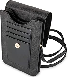 Guess Saffiano-Look Wallet Bag with Tassel - Black