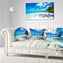 """تصميم فني الشاطئ الاستوائي مع راحة اليد الظلال وأظهر مقاس كبير مطبوع عليه صورة من القماش الكتاني على شاطئ البحر, Blue, 40x20"""""""