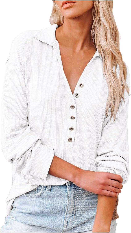 Women's Long Sleeve Deep V Neck Henley Shirts Button Down Drawstring Sweatshirt Pullover Tops