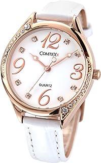 Comtex Orologio analogico da polso da donna,cinturino in pelle,impermeabile (Bianco(oro rosa))