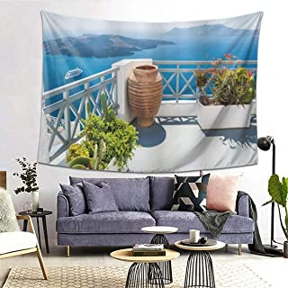 PATINISA タペストリー インテリア 壁掛け 風景サントリーニ島ギリシャエーゲ海の木花澄んだ空写真ベランダ 壁飾り 家 リビングルーム ベッドルーム 部屋 おしゃれ飾り 200x150cm