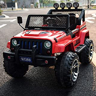 CGIIGI Four-Wheel Drive Children's Electric Car Can Take People Off-Road Remote Control Car Baby Driving Toy Car for Birthday Present Age 3+ (Color : Red)