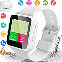 Bluetooth Smart Watch with Camera Women Men Smart Watches Touch Screen Unlocked Watch Support SIM Card Slot Watch Pedometer Sport Bracelet Compatible Android Samsung S10 S9 S8 Motorola Ios Phone White