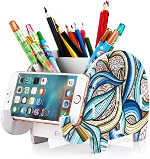 Desk Supplies Organizer, Creative Elephant Multifunctional Office Holder Cosmetics Holder Desk Decoration with Cell Phone Stand Tablet Desk Bracket for iPhone Smartphone (Indian Elephant)
