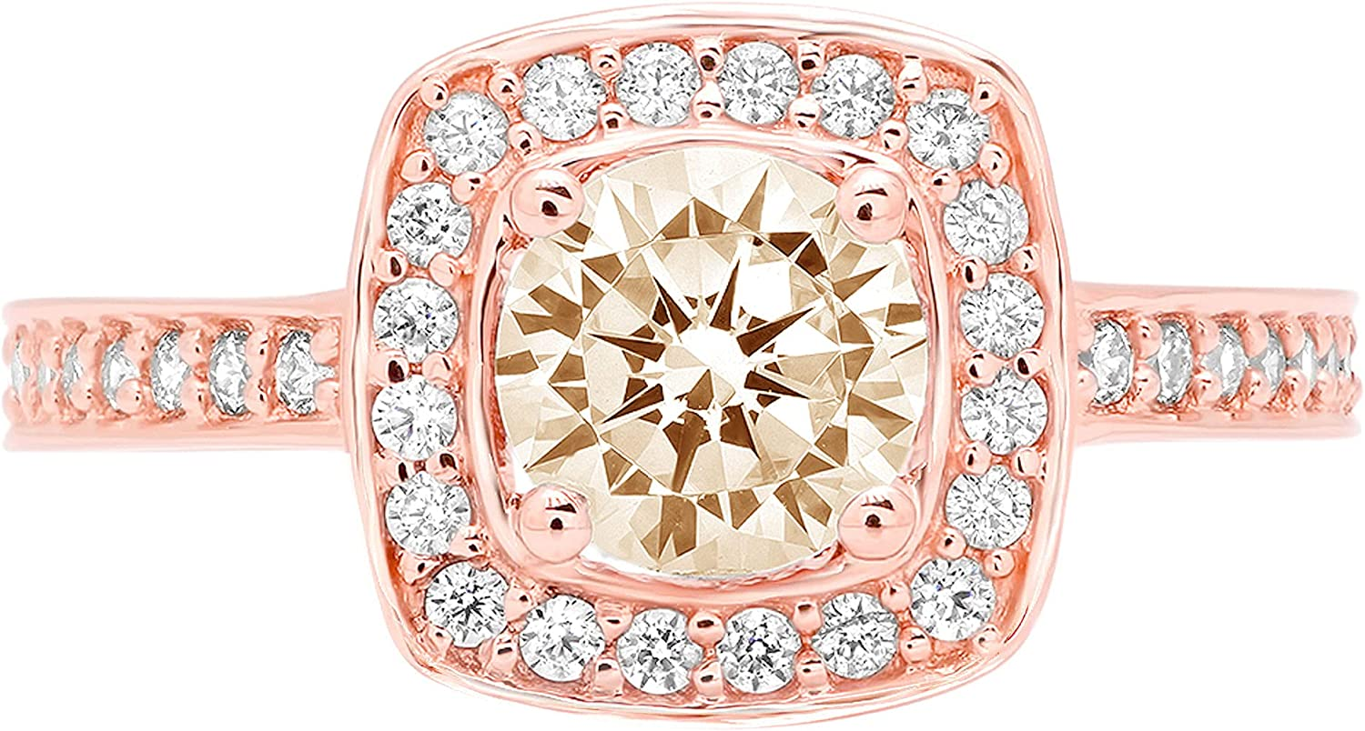 1.41 Brilliant Round Cut Halo Solitaire Stunning Genuine VVS1 Simulated Yellow Moissanite Modern Promise with accent Designer Ring 18K Rose Gold