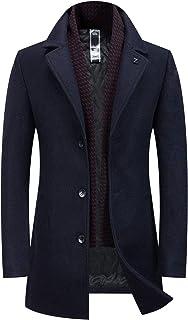 Chartou Men's New Wool Blend Gentlman Winter Midi Busiess Jacket Trench Coat