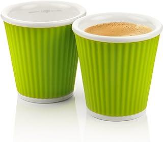 Les Artistes 3 fl.oz Corrugated Cups - 383 C, Set Of 2, Green, A-0622