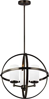 Seagull Sea Gull 3124603-778 Transitional Three Light Chandelier from Alturas Collection Dark Finish, Brushed Oil Rubbed Bronze
