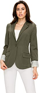 Made By Johnny Womens Boyfriend Blazer with Double Pocket and Roll-UP Sleeves