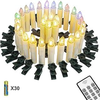 Yorbay Velas de LED Decorativas para Árbol de Navidad con Pilas, luces blancos cálidos sin llama para Hogar,Decoración festival,Boda y Fiesta (L-30 Pack) reutilizable