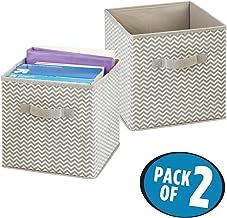 mDesign Juego de 2 cajas organizadoras con asas - Organizadores grandes para artículos de oficina, carpetas y papel de impresora - Caja para organizar útiles de oficina, taller, estudio - topo/natural