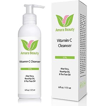 Facial Cleanser with 15% Vitamin C, Aloe Vera, Rosehip Oil & Tea Tree Oil, 6 fl. oz.