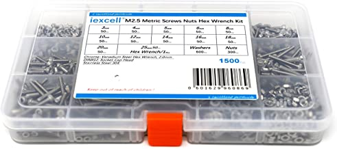 iExcell 1500 Pcs Metric M2.5 DIN912 Stainless Steel 304 Hex Socket Head Cap Screws Nuts Hex Key Wrench Kit