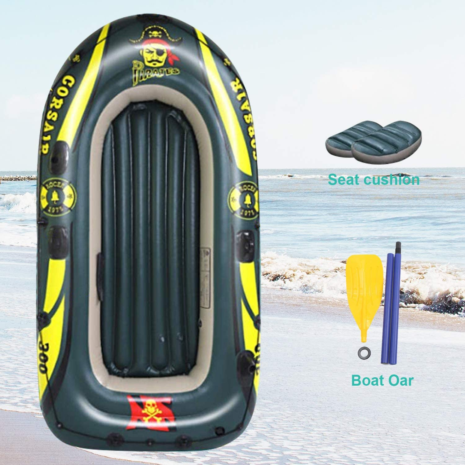 SOARRUCY Inflatable Boat Set for Adults Inflatable Fishing Boat,3 Person Inflatable Kayak with Oars Pump Pool Water Rafts for Lake