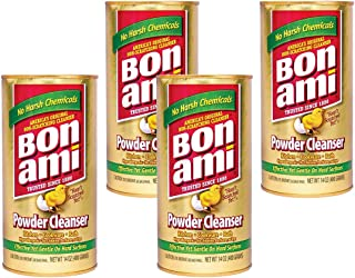 Bon Ami Powder Cleanser for Kitchens & Bathrooms - All Types of Surfaces, Cleans Grime & Dirt, Polishes Surfaces, Absorbs Odors (4 Pack)