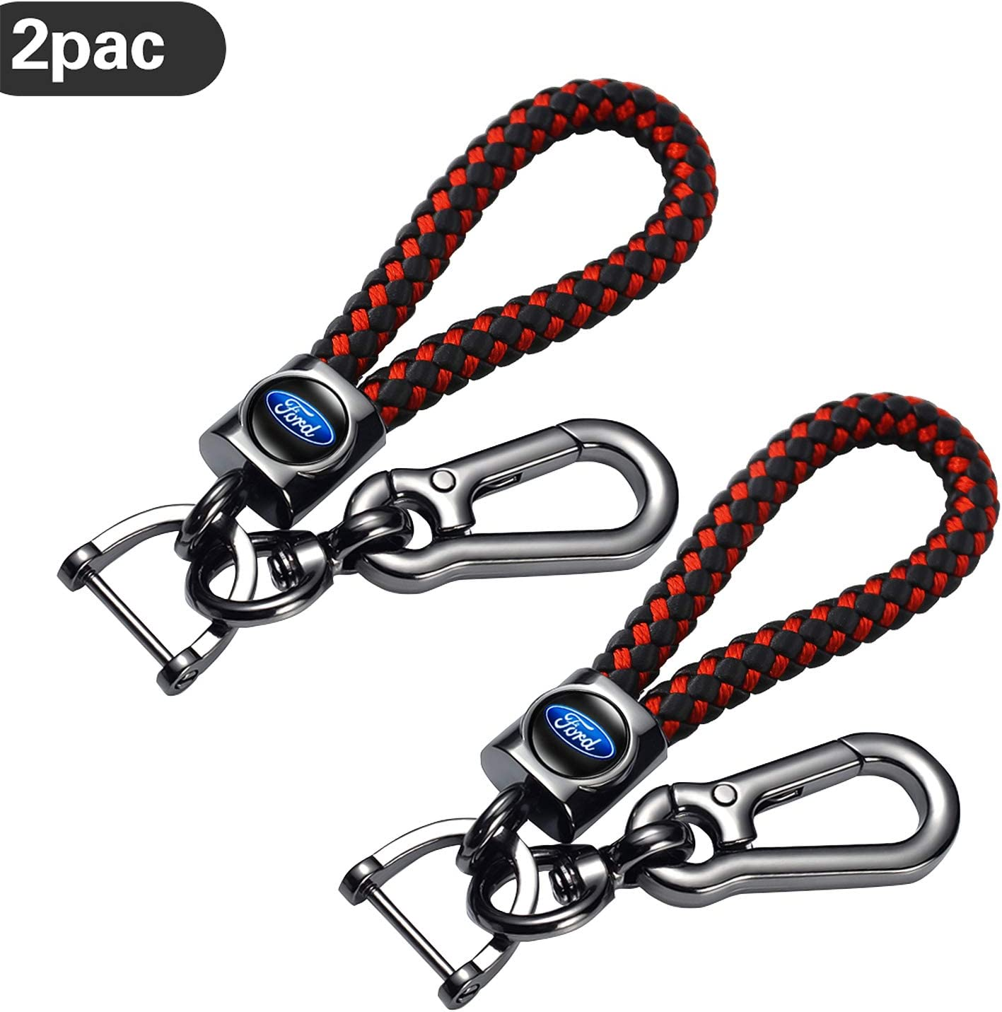 Accessories HYFQD 2pcs Genuine Leather Key Chain Suit for Ford Fusion F150 F250 F350 F450 F550 Edge Explorer Mustang F151 Keychain Key Ring Family