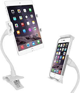 Macally Flexible Gooseneck Tablet Holder, Clamp Mount Stand with Lazy Arm Phone Holder Clip for the iPad Pro 10.5 / 9.7 Air Mini iPhone XS XS Max XR X 8 Plus Nintendo Switch Samsung Galaxy Tab etc.