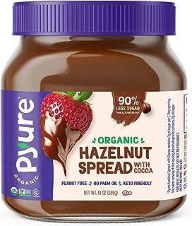 Organic Hazelnut Spread with Cocoa by Pyure | Keto Friendly, No Palm Oil, Vegan, Peanut Free | 90% Less Sugar Than the Mar...