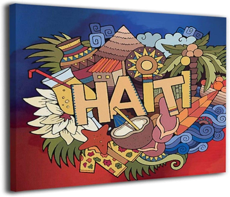 Haiti Lettering Our shop OFFers the best service Doodles Elements Symbols Art Canvas Prints Wall 70% OFF Outlet