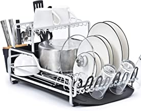 Kingrack Dish Drying Rack, Aluminum Dish Drainer 2 Tier with Draining Board, Drip Tray,Top Shelf Sink Drainer, Cutlery Hol...