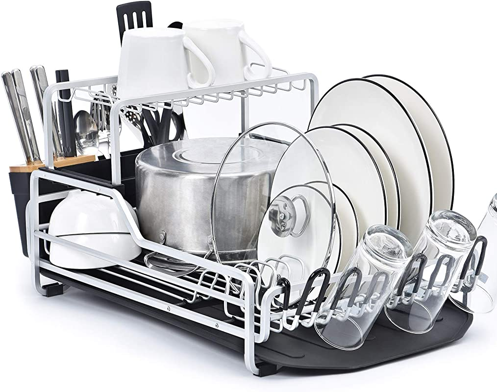 KINGRACK Dish Rack 2 Tier XXL Aluminum Dish Drying Rack With Drain Board Customizable Dish Holder Set With Removable Top Shelf Cutlery Holder Cup Holder Large Capacity Dish Rack For Kitchen