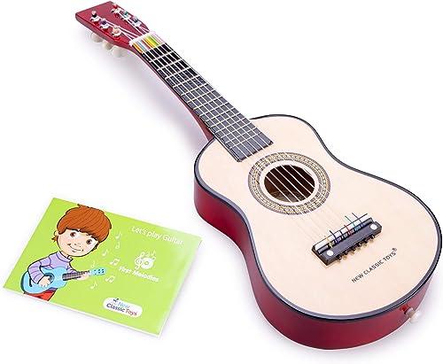 New Classic Toys Instrument de Musique pour débutants Guitare avec Le Livre de Musique - Naturelle