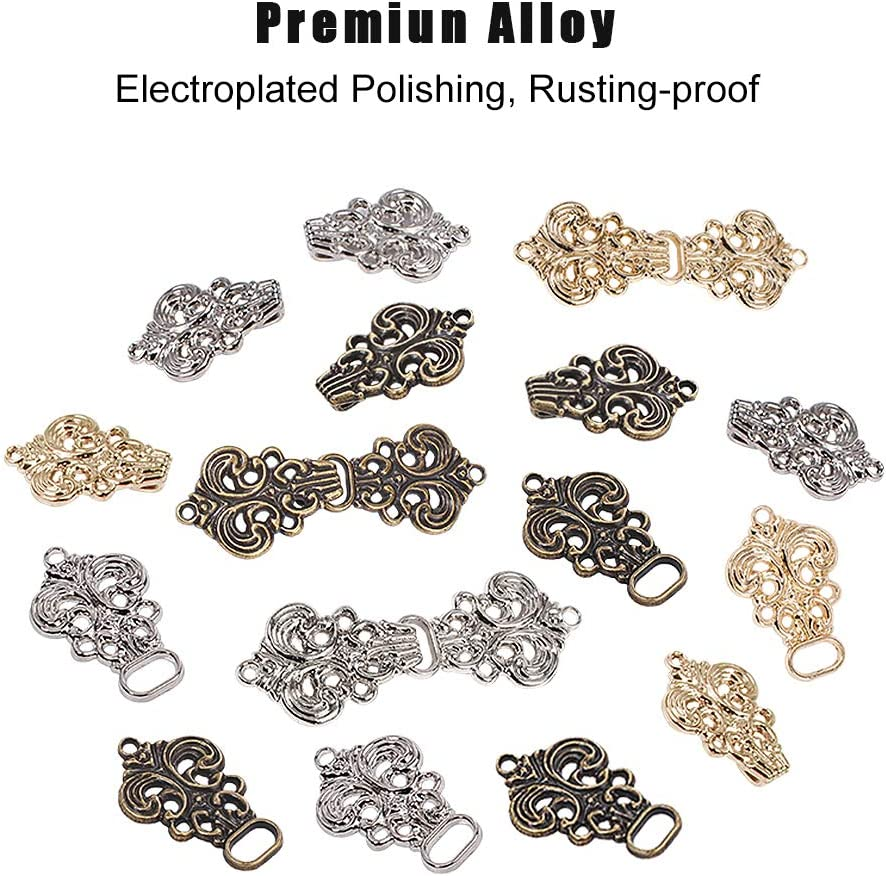 Platinum Sweater,Cloth Making Gunmetal OLYCRAFT 12 Pairs Asymmetric Acanthus Leaf Sew on Cape Cloak Clasp Fasteners 51 x 19mm Hook and Eye Cardigan Clip for Rope Light Gold
