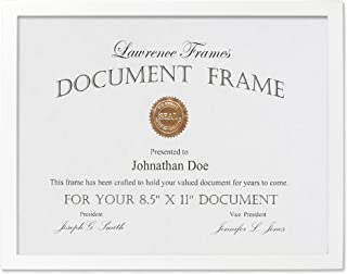 Lawrence Frames White Wood Certificate Picture Frame, Gallery Collection, 8-1/2 by 11-Inch