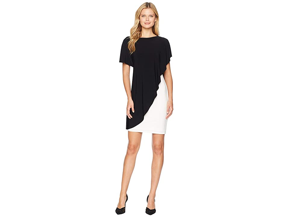 LAUREN Ralph Lauren Matte Jersey Naila Short Sleeve Day Dress (Black/Lauren White) Women