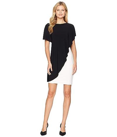 LAUREN Ralph Lauren Matte Jersey Naila Short Sleeve Day Dress (Black/Lauren White) Women