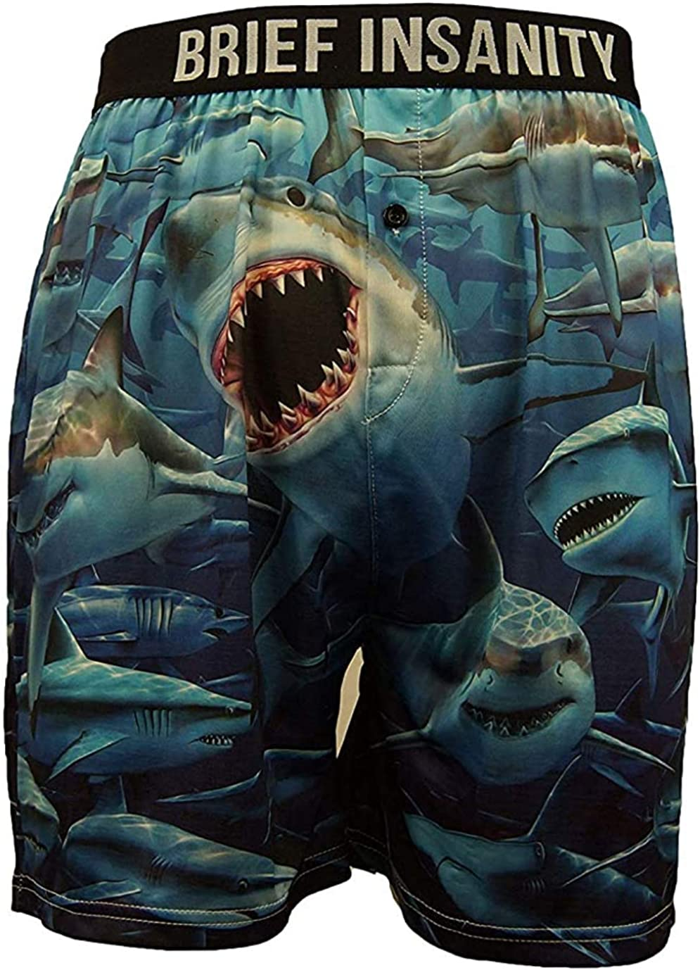 BRIEF INSANITY Shark Boxer Briefs for Men and Women   Great White Boxer Shorts -Soft, Comfy Underwear