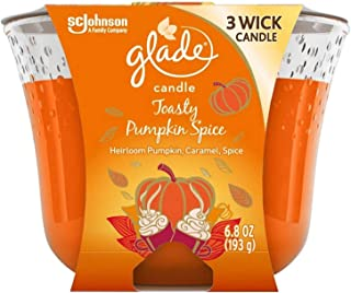 Glade 3 Wick Scented Candle Toasty Pumpkin Spice Heirloom Pumpkin Caramel Spice Air Freshener for Home, 6.8 oz Limited Edition