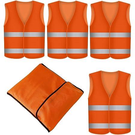 Warnweste Orange 4 Stück Mit Tasche Waschbar 360 Grad Reflektierende Sicherheitsweste Baumarkt