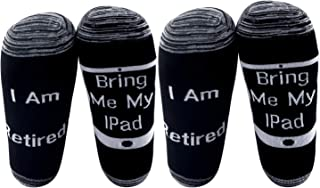 G2TUP 2 Pair Funny Retirement Socks Gifts I Am Retired Bring Me My IPAD Husband Dad Uncle Grandpa Retired Gift