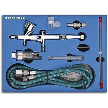 CYBERNOVA SP180K Kit Profesional de doble acción de aire de control de aire de control aerógrafo con 0,2/0,3/0.5 mm de aguja pistola de pincel de aire para el maquillaje Modelo Nail Body Paint Art
