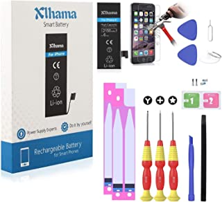 XLHAMA New 2150mAh Battery Compatible with iPhone 6, High Capacity Lithium ion Replacement Battery Repair Tool Kits Screen Protector - 24 Months Warranty