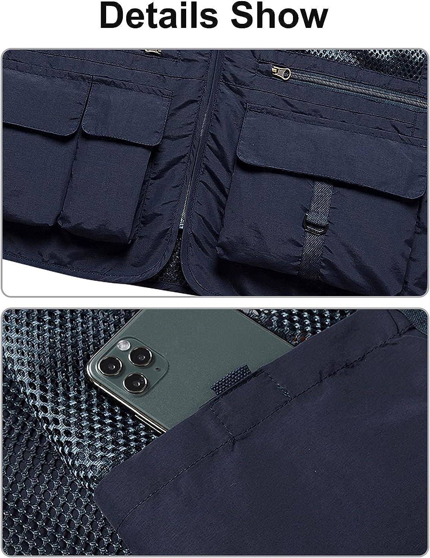 Panegy Men Multi-Pockets Utility Cargo Vest Outdoor Work Hiking Fishing Photo Safari Waistcoat Waterproof