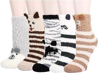 Pack de 5 Pares Calcetines para Dormir Térmicos Calentitos Invierno - Niños Niñas, Talla Única 3-8 Años