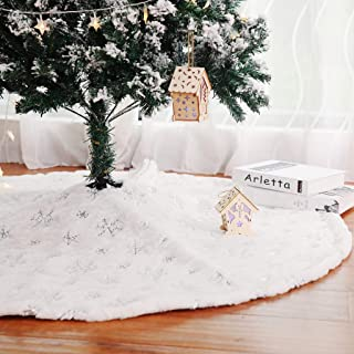 Kaximd Christmas Tree Skirt 30/36/49 inches Xmas White Tree Skirts Snowflake Embroidery for Christmas Decorations Holiday ...